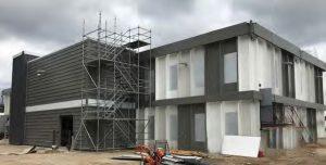unique exterior finish for steel building